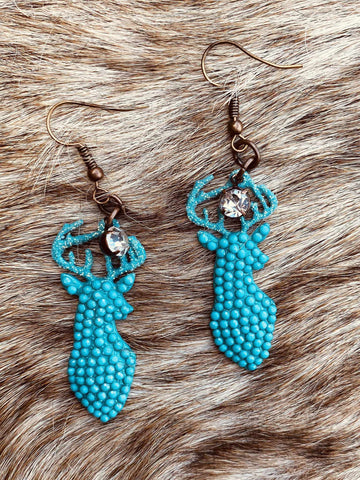 Sparkly Deer Earrings - Turquoise