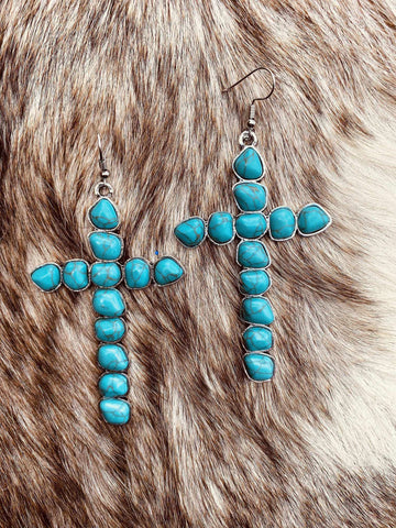 Walk By Faith Stone Cross Earrings