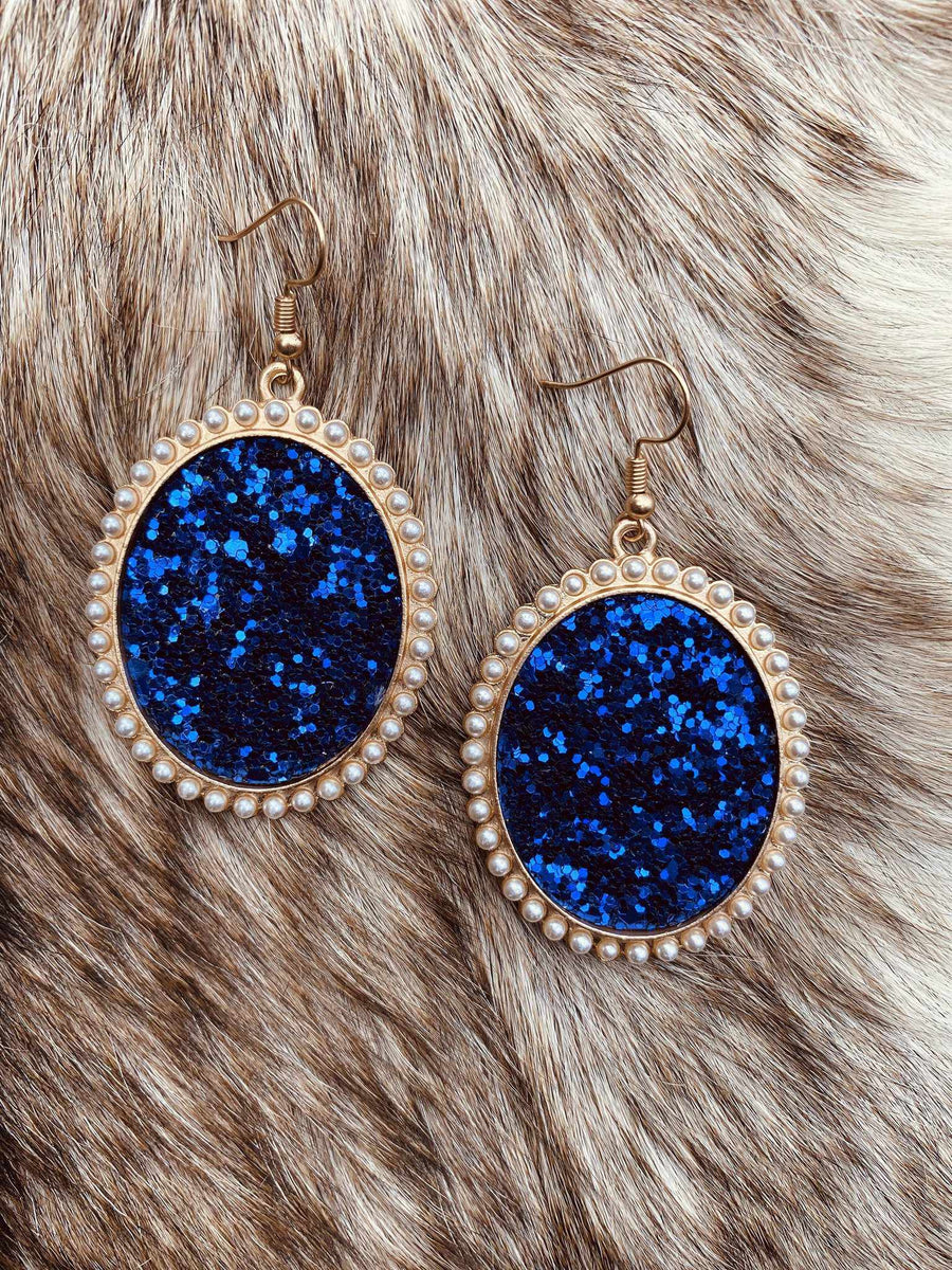 Glitter And Glam Oval Earrings - Royal