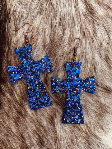 Glitter Cross Earrings - Royal Blue