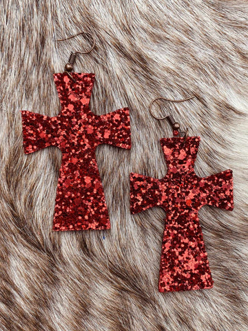 Glitter Cross Earrings - Red