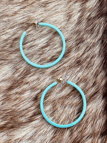 Glossy Mint Hoop Earrings