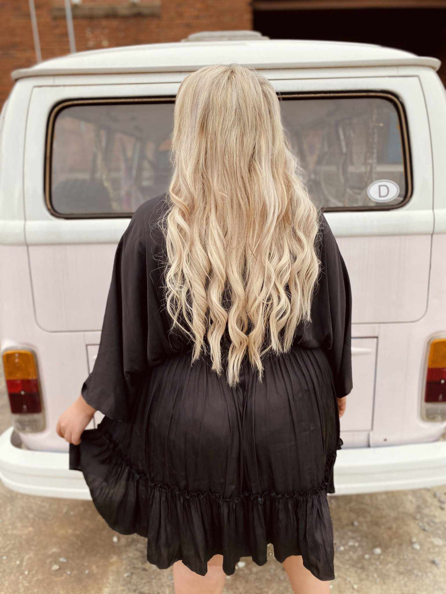 She Is Carolina Dolman Dress - Black-Southern Fried Chics