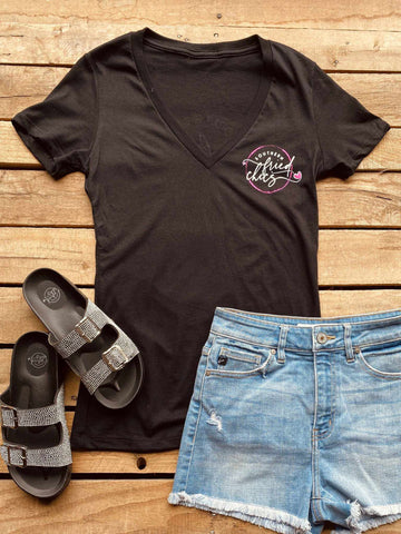 SFC Logo V Neck Tee - Black-Southern Fried Chics