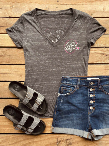 SFC Logo V Neck Tee - Charcoal-Southern Fried Chics
