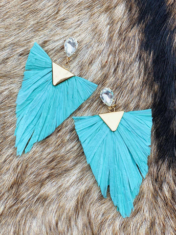 Sea You Soon Fringe Earrings - Turquoise