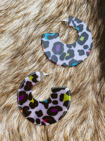 On A Roll Hoop Earrings - Multi Leopard