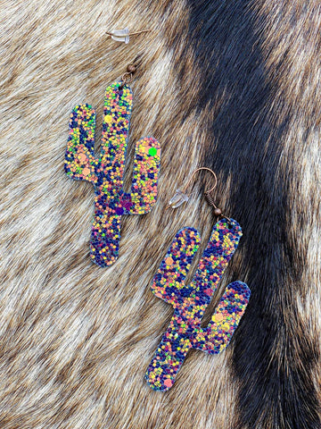 Glitter Cactus Earrings