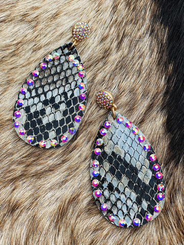Going Wild Pendant And Crystal Stud Earrings-Southern Fried Chics