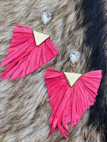 Sea You Soon Fringe Earrings - Coral
