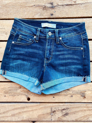 Hazel Mid Rise Shorts - Dark-Southern Fried Chics