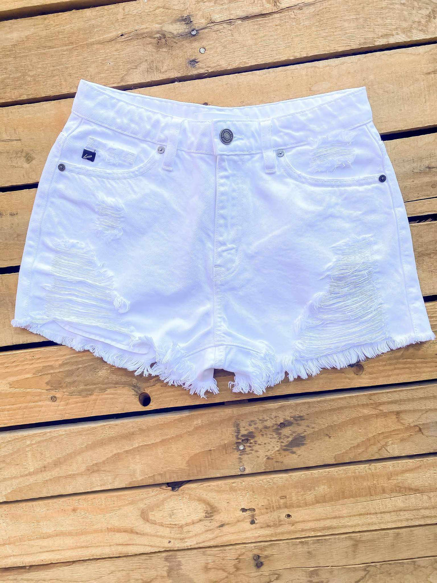 High Rise Shorts - White-Southern Fried Chics