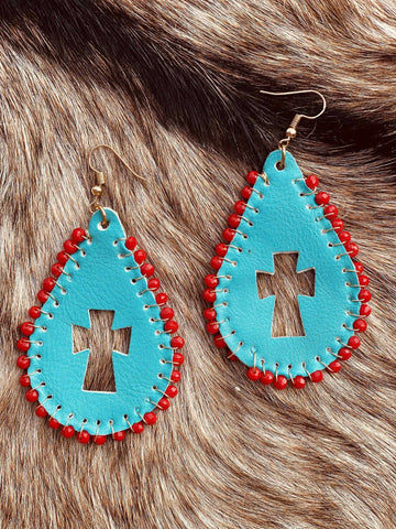 By The Cross Earrings - Turquoise-Southern Fried Chics