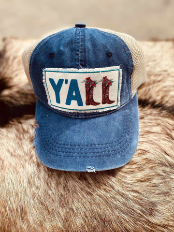 Yall Boots Patch Hat - Navy-Southern Fried Chics