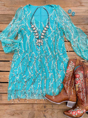Electric Feel Sequin Shimmy Dress - Mint-Southern Fried Chics