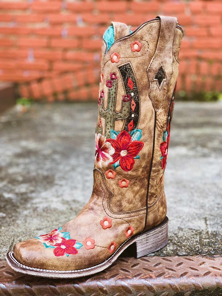 Taupe Cactus Inlay And Embroidery Square Toe Boot by Corral
