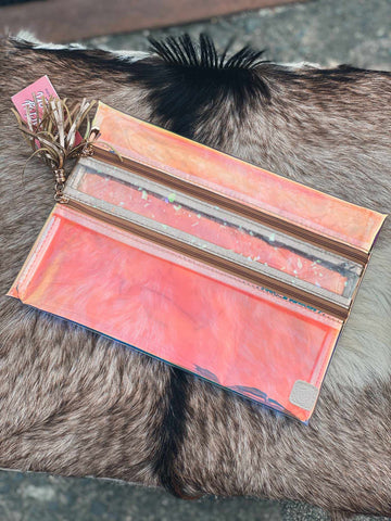 Peach Sunset Clear Double Zipper Versi Bag-Southern Fried Chics