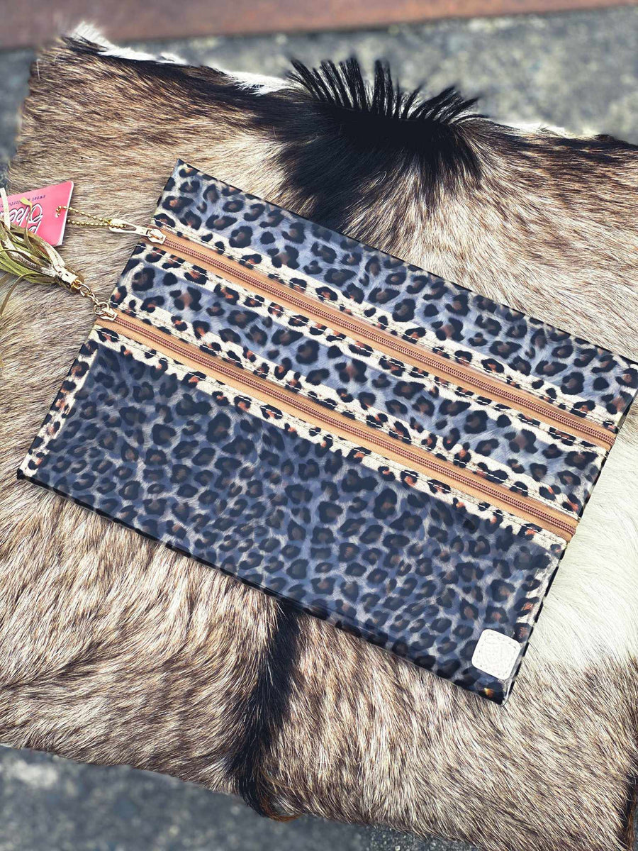 Livin In Leopard Clear Double Zipper Versi Bag-Southern Fried Chics