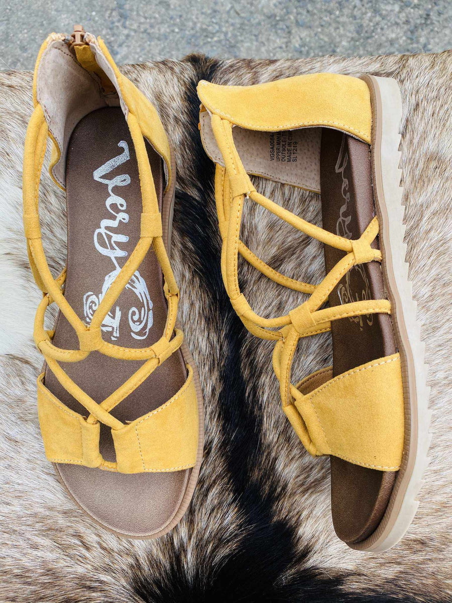 Destiny Sandal - Mustard-Southern Fried Chics