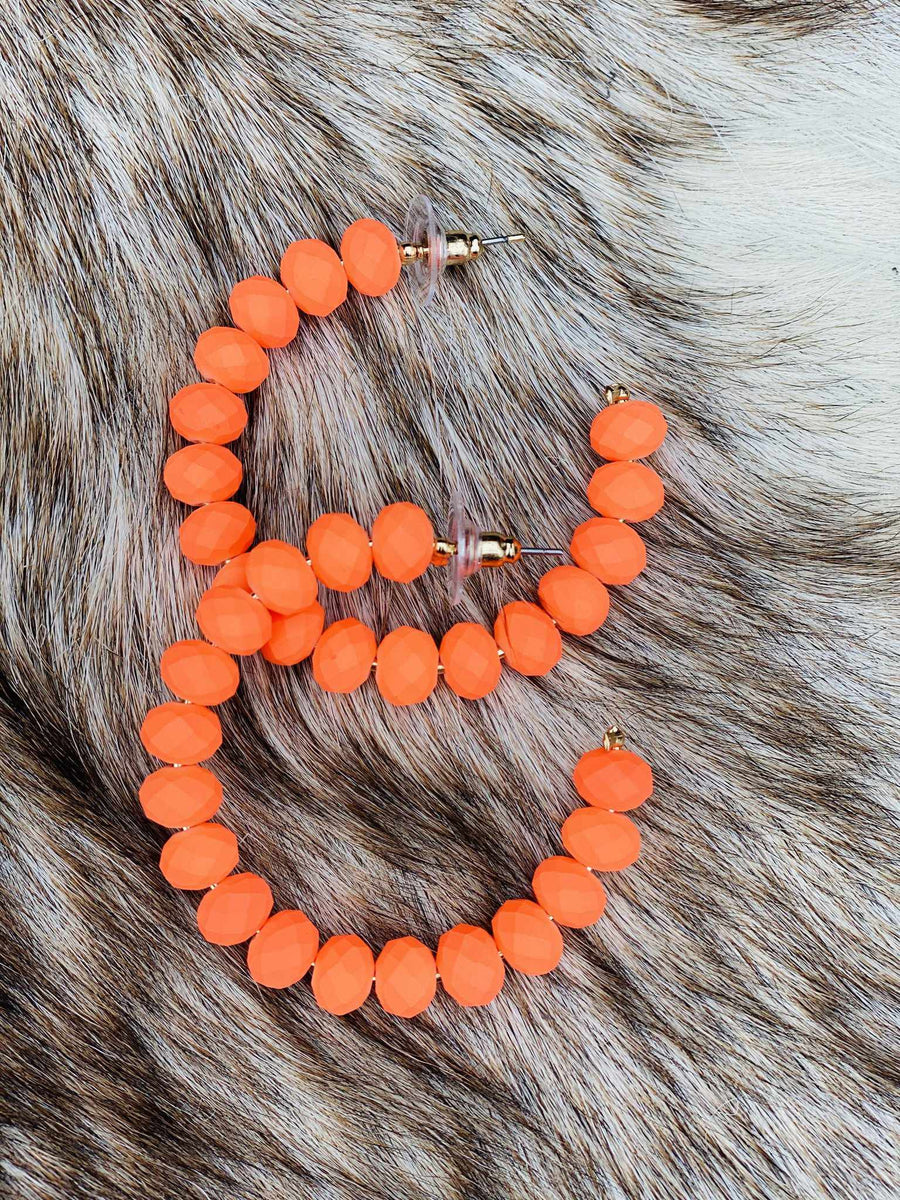 The Essential Hoop Earring - Neon Orange-Southern Fried Chics