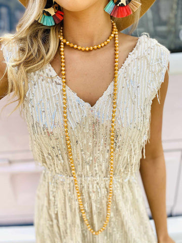 The Essential Double Wrap Necklace - Mustard-Southern Fried Chics