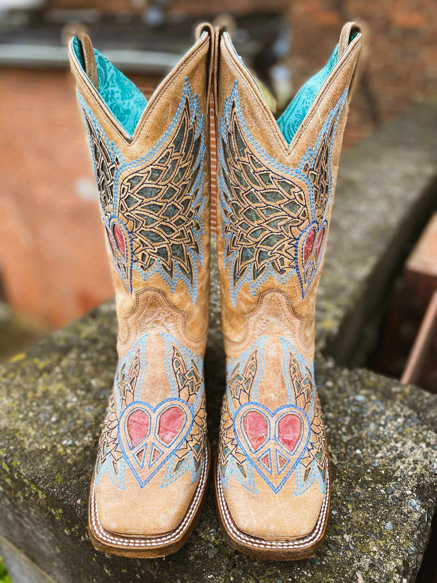 Sand Side Wing And Cross Square Toe by Corral-Southern Fried Chics
