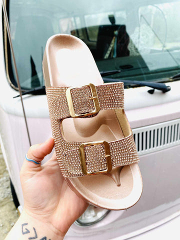 Southern Fried Sparkle Slide - Rose Gold-Southern Fried Chics