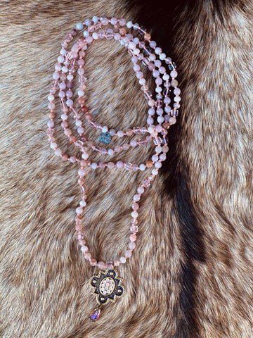 Pink Panache Powder Rose Necklace - Blush-Southern Fried Chics