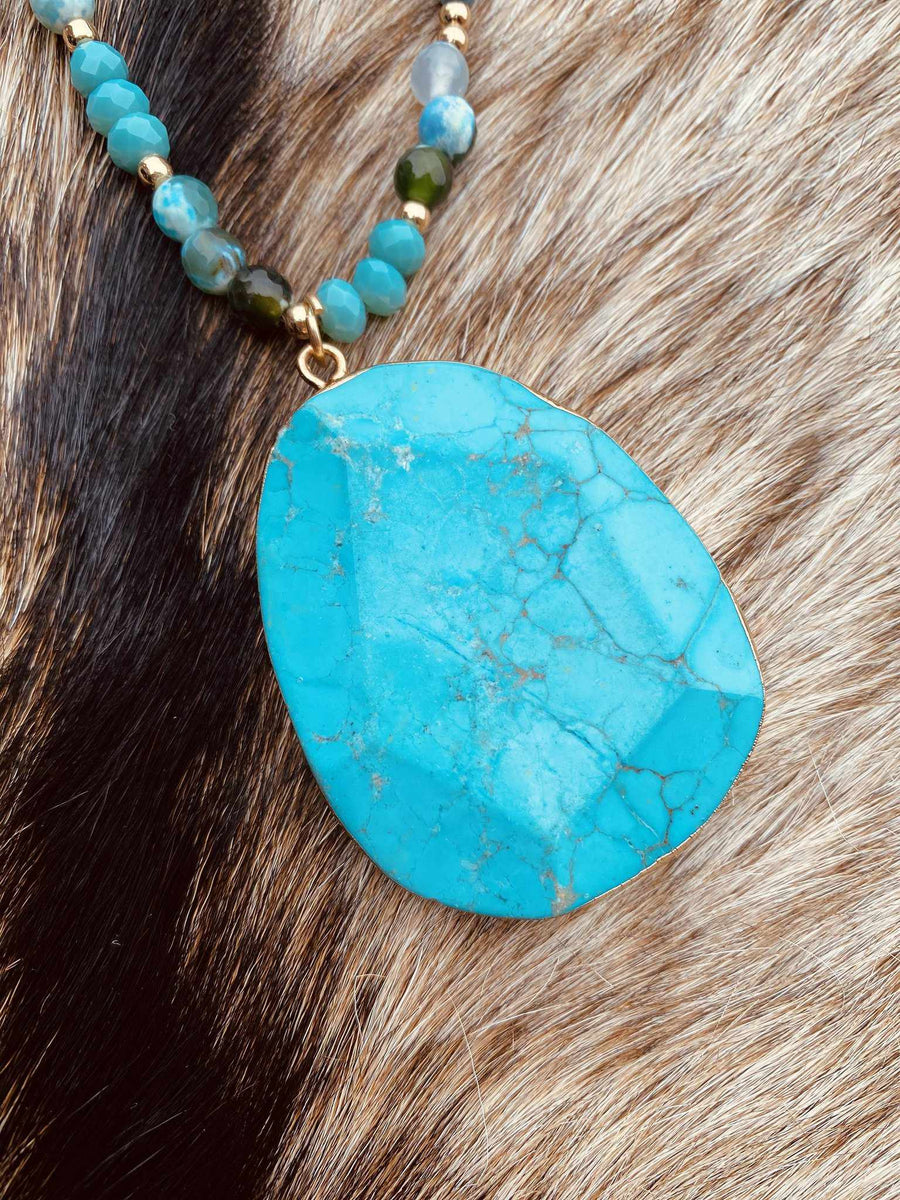 Southern Lady Necklace - Turquoise-Southern Fried Chics