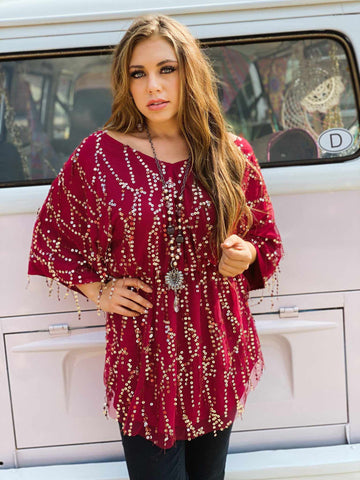 Burgundy Sequin Tunic Top-Southern Fried Chics