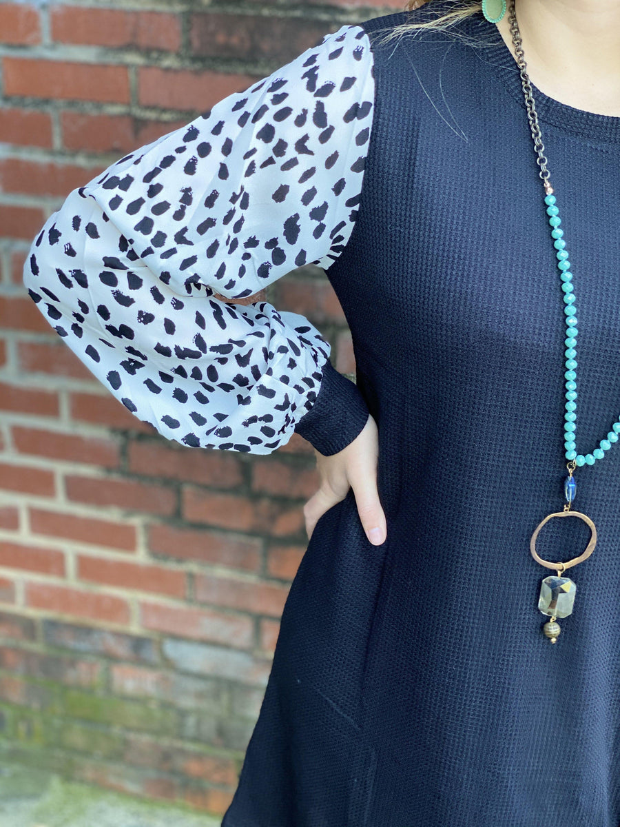Highlands Black Waffle Knit Dalmatian Dress