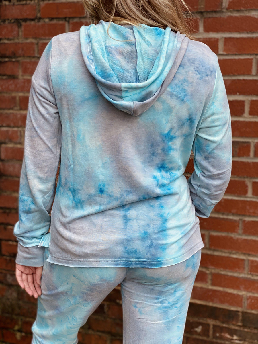 Light Blue Tie Dye Lounge Hoodie-Tops-Southern Fried Chics