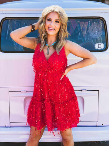 Holly Jolly Red Sequin Dress