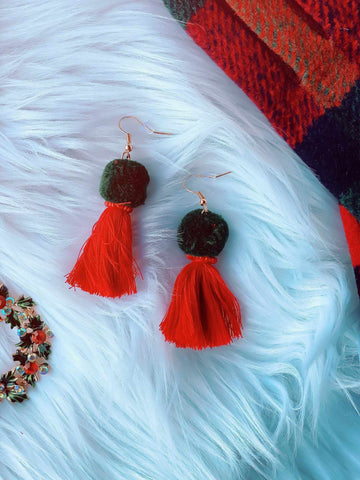 Get Your Jingle On Red Tassel Earrings