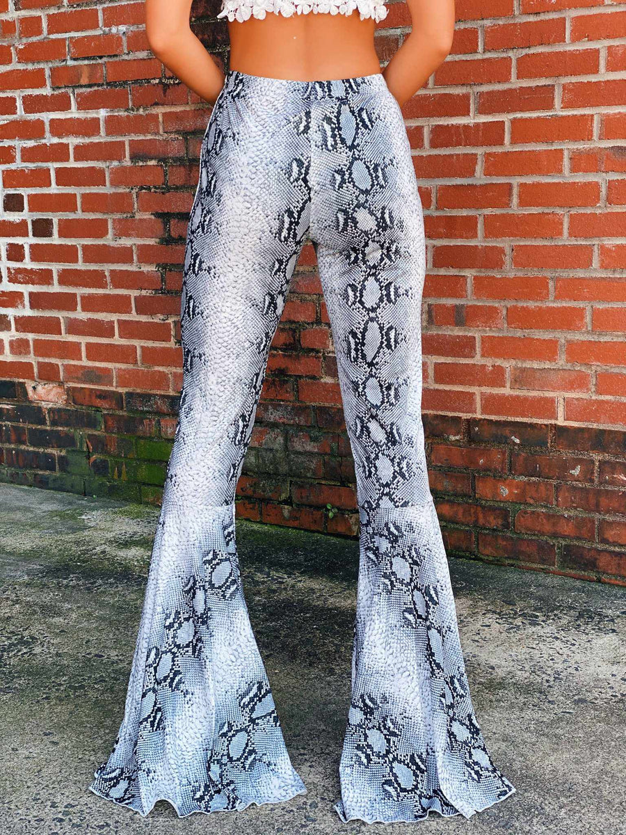 Snakeskin Flare Pants-Southern Fried Chics