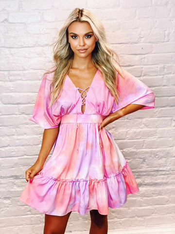 Funky Town Dress - Pink-Southern Fried Chics