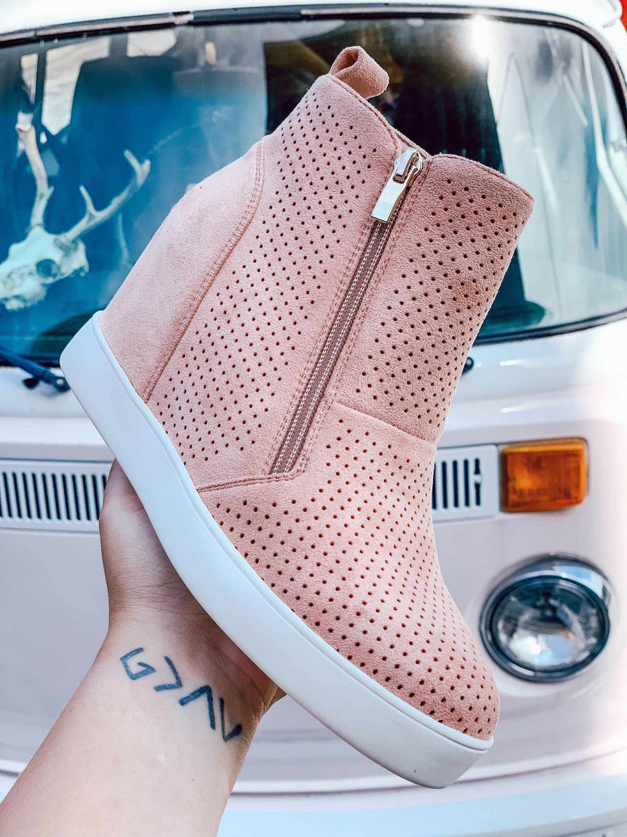 Bodhi Shimmer Sneaker Wedge - Blush-Southern Fried Chics