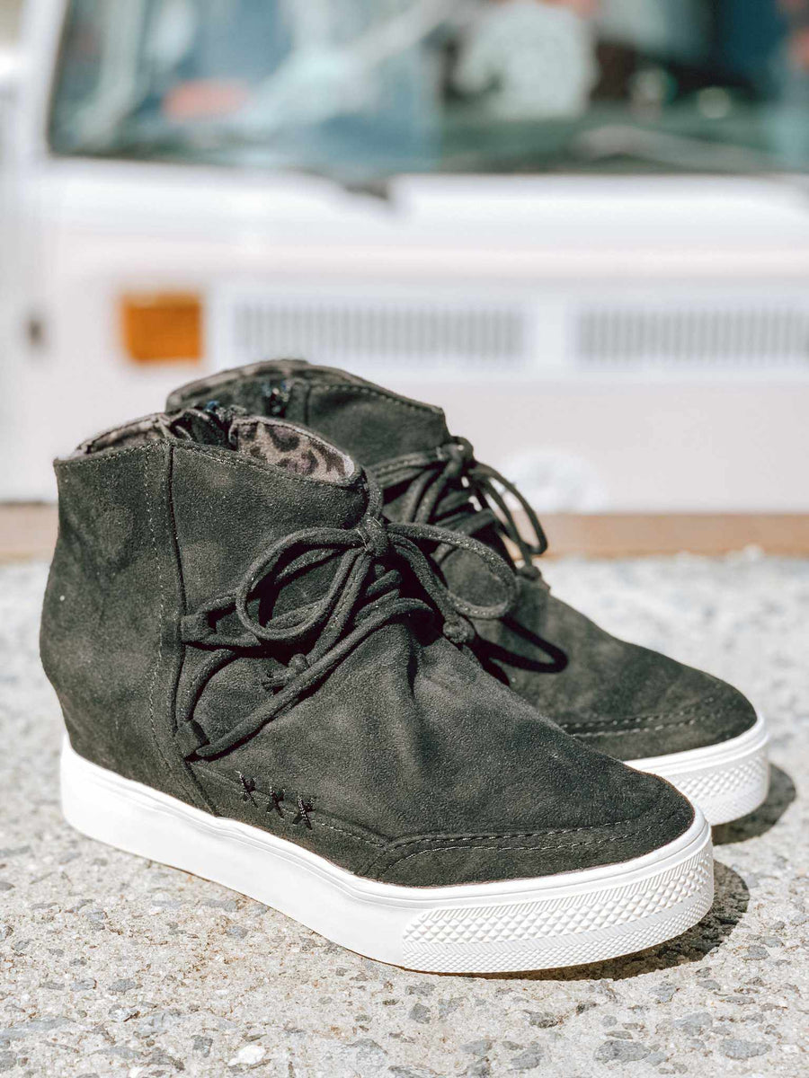 Ursula Sneaker Wedge - Black-Southern Fried Chics