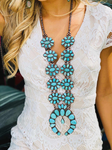 Forever and Ever Turquoise Flower Squash Blossom Necklace-Southern Fried Chics