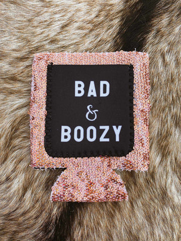 Bad and Boozy Sequin Koozie - Rose Gold-Southern Fried Chics