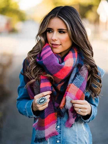SFC Blanket Scarf - Navy Orange Pink