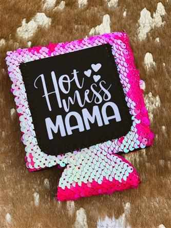 Hot Mess Mama Sequin Koozie - Pink