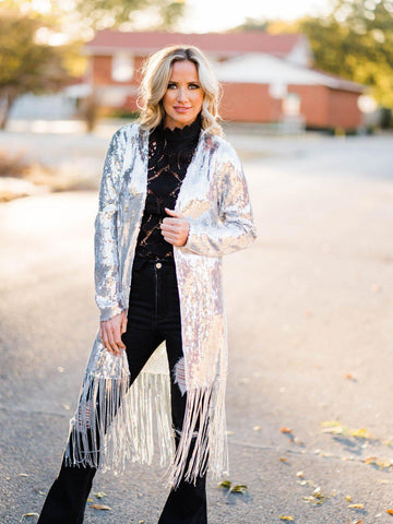 Chasing Dreams Fringe Sequin Duster - Silver-Southern Fried Chics