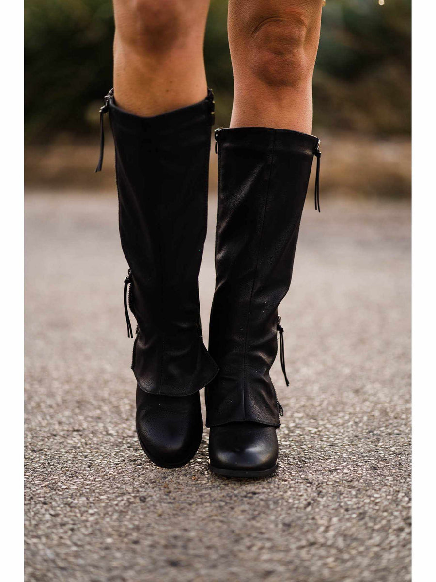 Southern Sass Block Heel Boot - Black-Southern Fried Chics