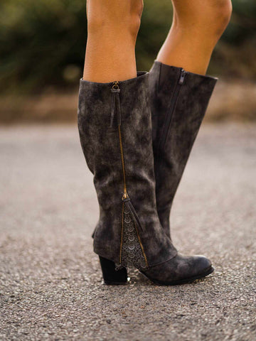 Southern Sass Block Heel Boot Wide Calf - Grey-Southern Fried Chics