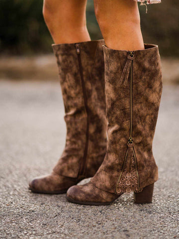 Southern Sass Block Heel Boot - Brown-Southern Fried Chics