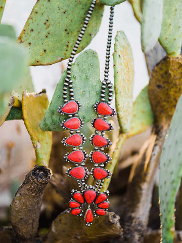 Southern Fried Squash Blossom Necklace -  Vintage Red