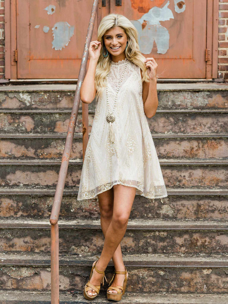 Southern Serendipity Sequin Dress - Gold