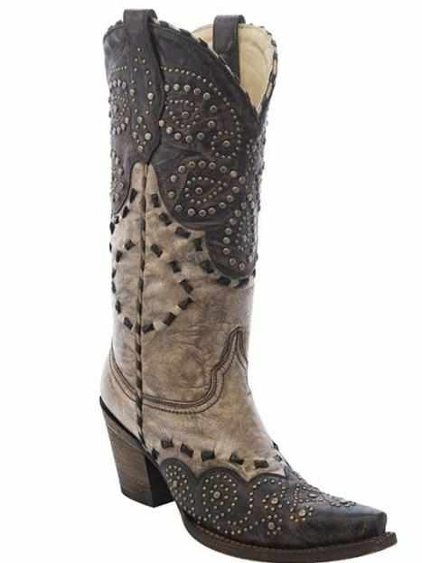 Brown / Tan Studded Pattern - Boots by Corral