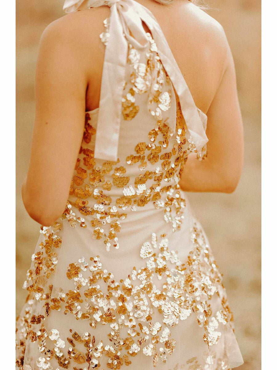 Adjustable One Shoulder Party Dress - Gold-Southern Fried Chics